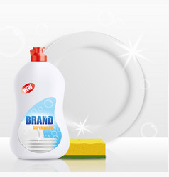 Dish soap bottle mockup with clean white plate and vector
