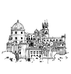 Drawing sketch pena palace portugal vector
