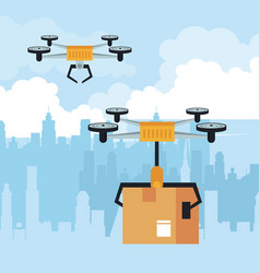 Drone flying with box at city vector