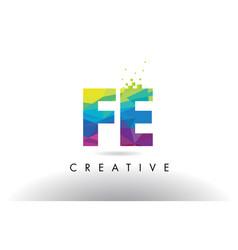 Fe f e colorful letter origami triangles design vector