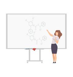 Female physics teacher professor giving task vector