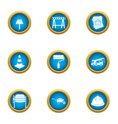 Finishing of building icons set flat style vector