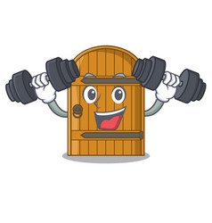 Fitness cartoon wooden door massive closed gate vector