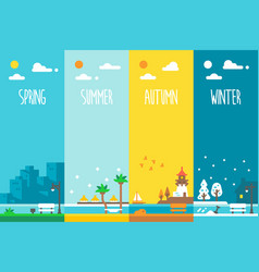 Flat design 4 seasons holiday vector