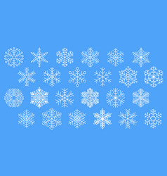 flat design line snowflakes icon set vector image