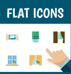 flat icon window set of cloud glass flowerpot vector image