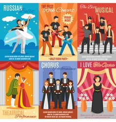 Flat Theatre Posters Set vector image