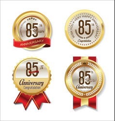 golden badge anniversary collection 85 years vector image