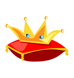 Golden crown on the red pillow vector