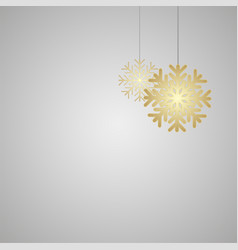 golden snowflakes on grey gradient background vector image