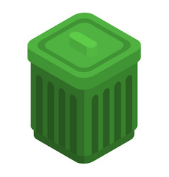 green garbage can icon isometric style vector image