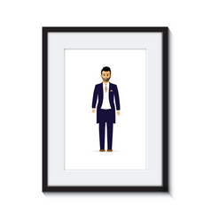 Groom in a picture frame vector