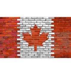 Grunge flag of Canada on a brick wall vector image