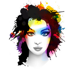 grunge young woman portrait vector image