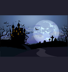 Halloween background with dracula castle vector