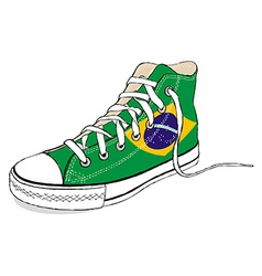 hand draw modern sport shoes with Brazil flag vector image