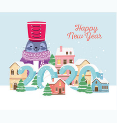 happy new year 2020 celebration cute seal with hat vector image