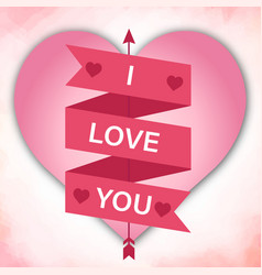 i love you ribbon pink heart arrow pink background vector image