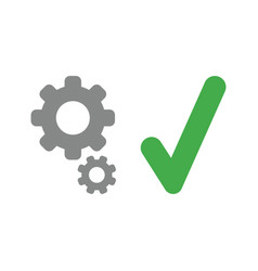 icon concept of gears with check mark vector image