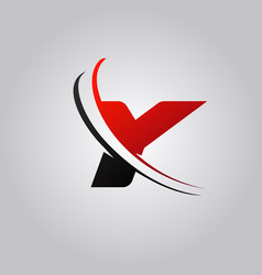 initial y letter logo with swoosh colored red and vector image
