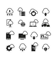internet cloud computing icon set vector image