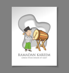 Islamic ramadan background with child elements vector