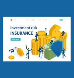 Isometric investment risk insurance vector