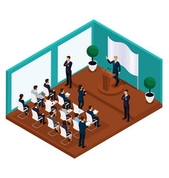 Isometric meeting president with voters vector