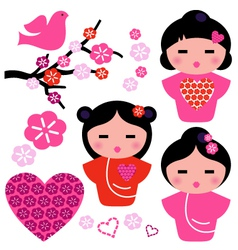 Japan love Geisha and floral elements set vector