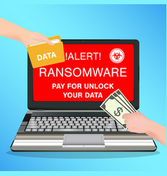 Laptop computer infected ransomware virus pay vector