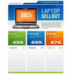 laptop sale flyer vector image vector image