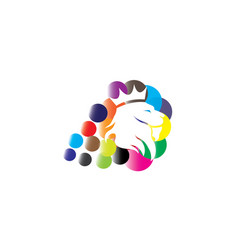 lion head with a crown in multicolor bubbles for vector image