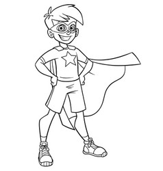 little super boy line art vector image