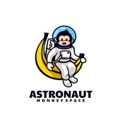 Logo monkey astronaut mascot cartoon style vector