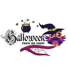 logo owl in halloween costume of witch mystery vector image