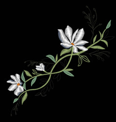 magnolia embroidery vector image
