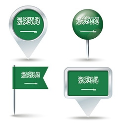 Map pins with flag of Saudi Arabia vector image