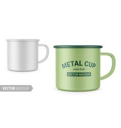 Matte white enamel metal cup mockup vector