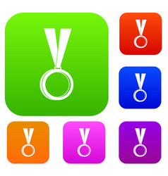 medal set color collection vector image