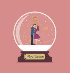 merry christmas glass ball with santa holding vector image