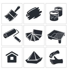 Painting work icon collection vector image