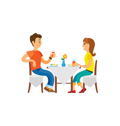 People dining in restaurant people on vacation vector