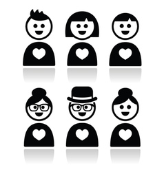 Poeple in love valentines day icons set vector image