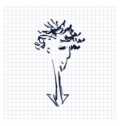 Portrait sad young man sloppy simple one line vector