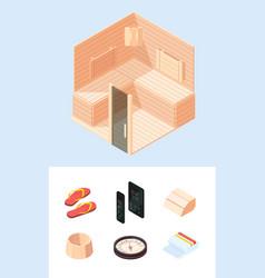 relaxing wooden sauna isometric spa interior vector image