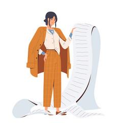 sad stylish business woman hold giant task list vector image