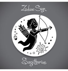 Sagittarius zodiac sign of horoscope circle emblem vector image