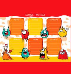 School timetable monsters vector