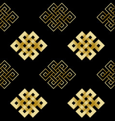 Seamless pattern gold endless knot vector