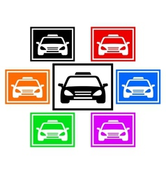 Set colorful icon with taxi car vector